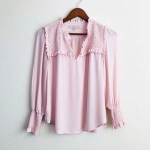 LOFT blush pink smocked long sleeve blouse -SP